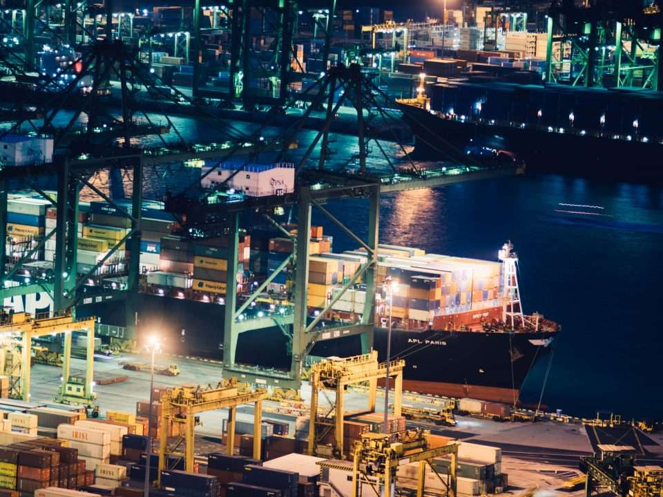 Image of a large port at night